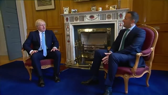 boris johnson pm and irish taioseach leo varadkar sit for photocall during uk prime minsiter's visit to dublin - leo varadkar stock videos and b-roll footage