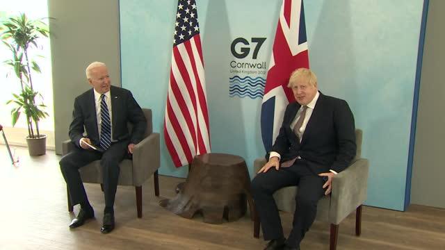 boris johnson pm and us president joe biden photocall before the start of the g7 summit at carbis bay, cornwall, joe biden jokes they have both... - humour stock videos & royalty-free footage
