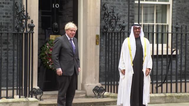 boris johnson pm greets crown prince of abu dhabi, mohammed bin zayed al nahyan, outside 10 downing street - headwear stock videos & royalty-free footage