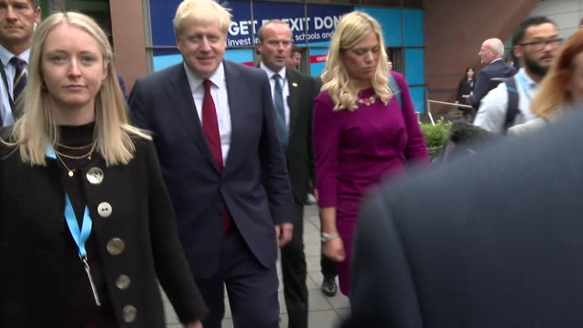 boris johnson pm leaving conservative party conference in manchester - convention stock videos & royalty-free footage
