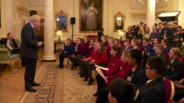 boris johnson pm speaking to schoolchildren visiting 10 downing street - downing street stock videos & royalty-free footage