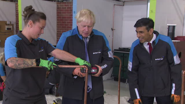 """boris johnson pm, visits british gas training centre in leicestershire - """"bbc news"""" stock videos & royalty-free footage"""