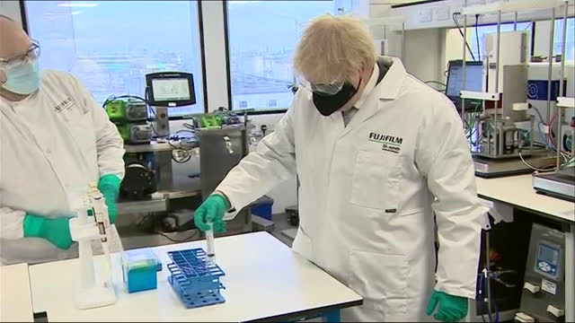 boris johnson pm, visits covid-19 manufacturing plant in teeside - biology stock videos & royalty-free footage