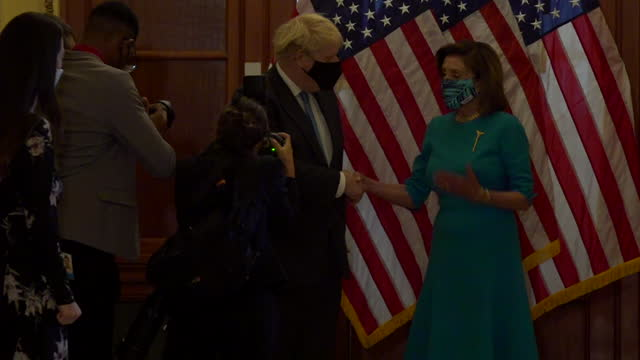 boris johnson pm visits nancy pelosi, speaker of the house of representatives at congress, during visit to washington dc, they engage in a very long... - united states congress stock videos & royalty-free footage