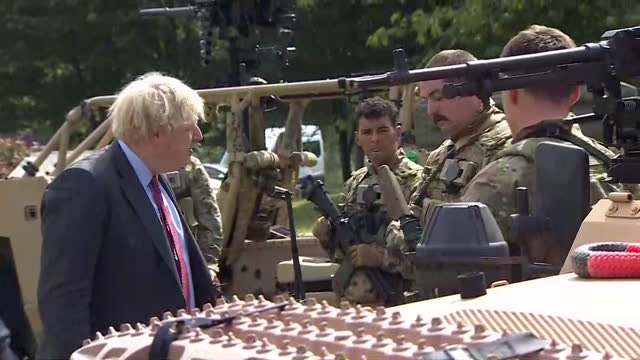 boris johnson pm visits new normandy barracks in aldershot, hampshire, to mark armed forces week - government building stock videos & royalty-free footage