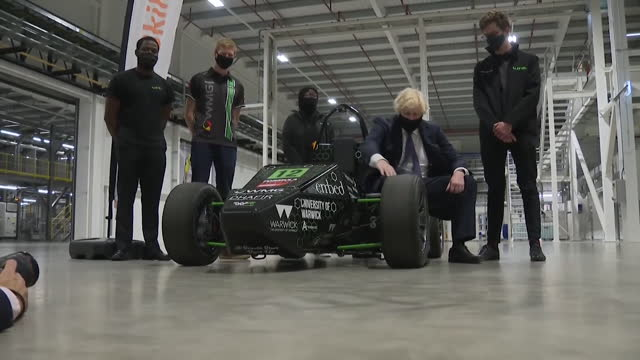 boris johnson pm, visits the uk battery industrialisation centre in coventry, views electric race car - electric vehicle stock videos & royalty-free footage