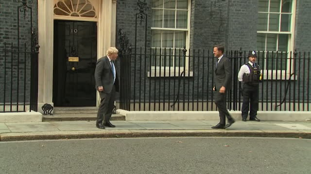 boris johnson pm welcomes dutch prime minister mark rutte to number 10 downing street - number stock videos & royalty-free footage