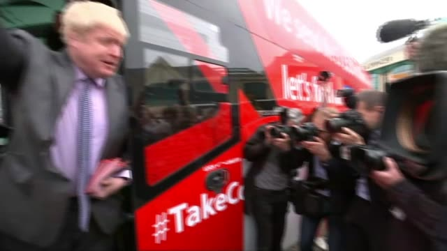 boris johnson rebuked for raising issue of nhs funding lib / 1152016 cornwall truro ext 'vote leave' campaign bus conservative mp boris johnson and... - nhs stock videos & royalty-free footage
