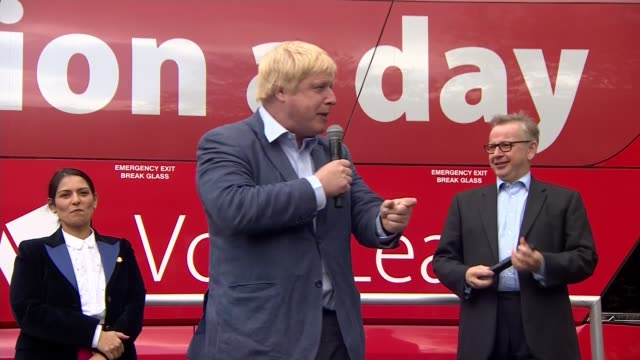 boris johnson rebuked for raising issue of nhs funding lib 162016 lancashire preston ext boris johnson mp speaking during the vote leave campaign in... - priti patel stock-videos und b-roll-filmmaterial