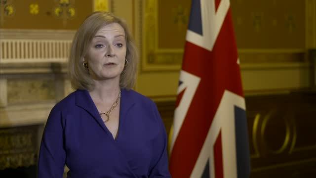 boris johnson reshuffles cabinet; england: london: downing street: ext liz truss mp along from number 10 int liz truss mp interview sot - politics stock videos & royalty-free footage
