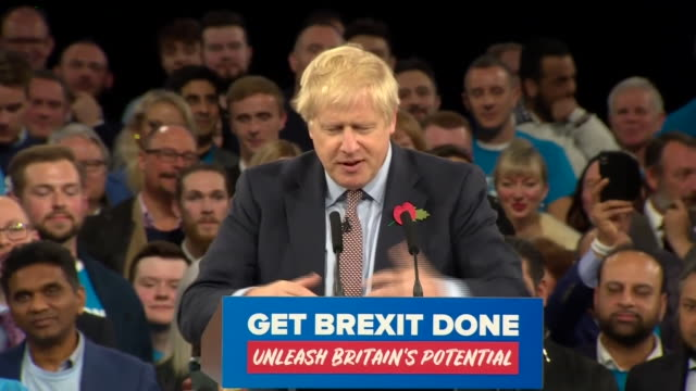 "boris johnson saying getting his brexit deal through will enable his government to ""get on"" with enacting its wider policies - brexit stock videos & royalty-free footage"