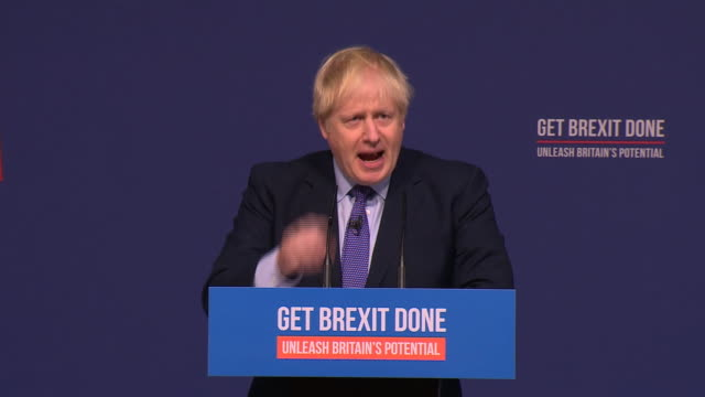stockvideo's en b-roll-footage met boris johnson saying let's go for sensible moderate taxcutting onenation conservative government and take this country forwards at the manifesto... - manifest