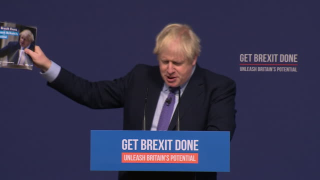 stockvideo's en b-roll-footage met boris johnson saying the conservative party pledges 50000 more nurses in its manifesto - manifest