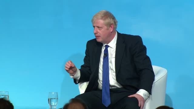 boris johnson saying the uk has the versatility to prosper and thrive if it were to go ahead with a nodeal brexit - world trade organisation stock videos & royalty-free footage