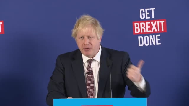 boris johnson saying when we get brexit done we will back british business - general election stock videos & royalty-free footage