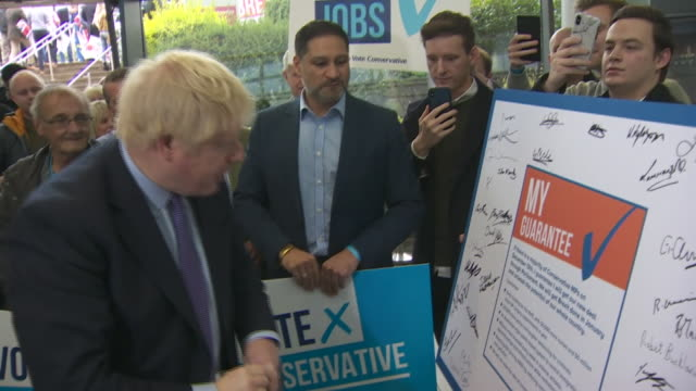 boris johnson speaking at the conservative party manifesto launch in telford - manifesto video stock e b–roll