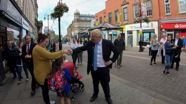 boris johnson speaking to members of the public in morley - west yorkshire stock videos & royalty-free footage