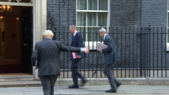 boris johnson speaking with cabinet members in a socially distanced huddle before meeting chris whitty and patrick vallance for a coronavirus cobra... - reptile stock videos & royalty-free footage