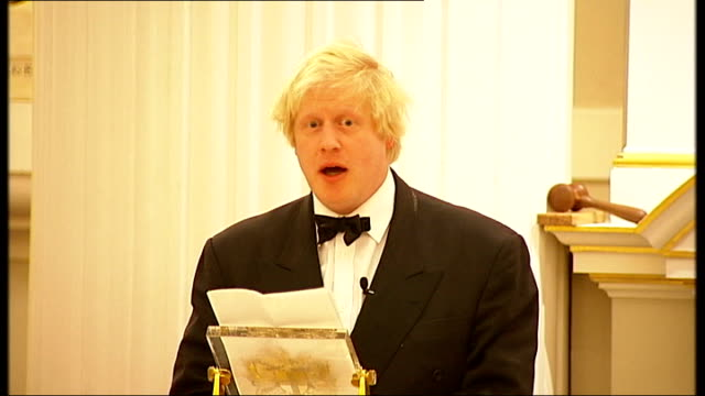 Boris Johnson speech at Lord Mayor's dinner ENGLAND London INT Boris Johnson speech SOT Fantastic turnout considering we are in the worst winter for...