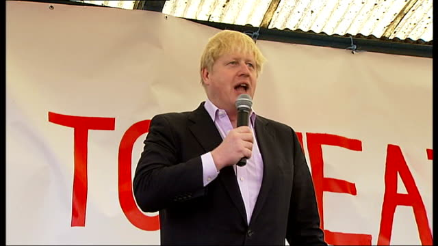 boris johnson speech on third runway at heathrow airport; england: london: barnes: barn elms playing fields: ext mayor of london boris johnson... - rabbit costume stock videos & royalty-free footage
