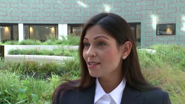 priti patel interview england ext priti patel mp interview sot - priti patel stock-videos und b-roll-filmmaterial