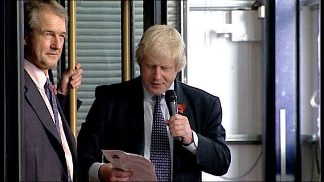 stockvideo's en b-roll-footage met boris johnson unveils new routemaster bus boris johnson speech sot a very important day for london transport and british industry / new bus... - uitlaatgas
