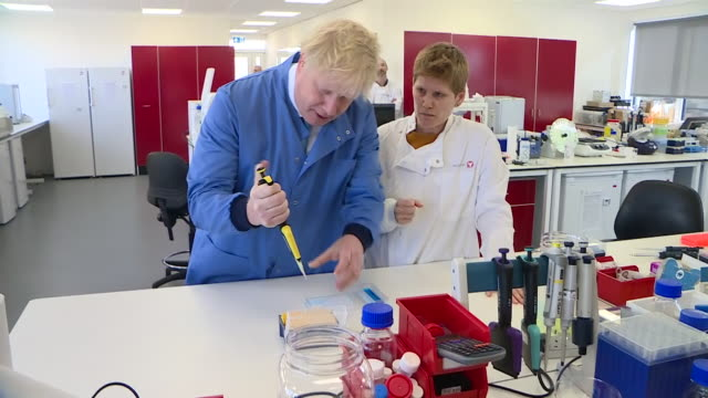 boris johnson visiting a laboratory in bedfordshire - discussion stock videos & royalty-free footage