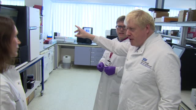 boris johnson visiting an nhs trust in the east midlands - politician stock videos & royalty-free footage