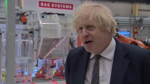 boris johnson visits bae systems factory: boris johnson interview; part 2 of 2 england: lancashire: warton: bae systems factory: int boris johnson mp... - war and conflict video stock e b–roll