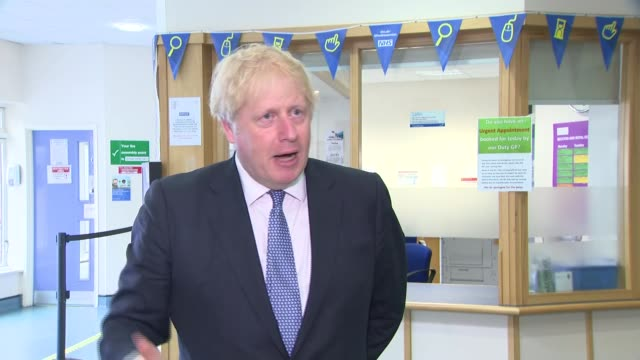 boris johnson visits gp surgery in east london england east london int boris johnson mp interview sot no apologies sorry if i don't apologise of... - log stock videos & royalty-free footage