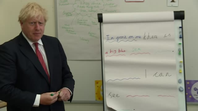 boris johnson visits kent primary school; england: kent: kings hill: the discovery school: int various of boris johnson mp visiting primary... - chart stock videos & royalty-free footage