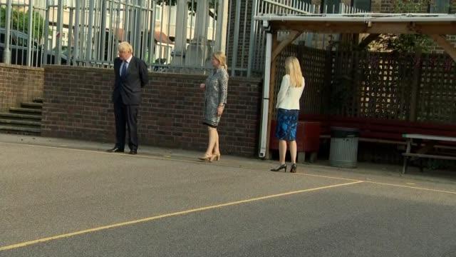 boris johnson visits school in east london; england: east london: st joseph's school: int **beware flash photography** boris johnson mp cleaning... - one way stock videos & royalty-free footage