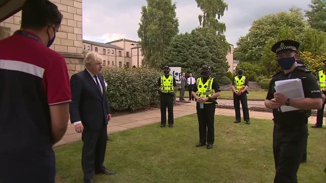boris johnson visits scottish police college; scotland: fife: tulliallan castle: scottish police college: ext boris johnson mp and police... - military recruit stock videos & royalty-free footage