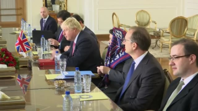 Boris Johnson visits Tehran for talks / hopes for release of Nazanin ZaghariRatcliffe IRAN Tehran Boris Johnson sitting at table in meeting with...