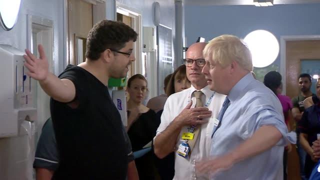 boris johnson visits whipps cross university hospital england london leytonstone whipps cross university hospital boris johnson having heated... - salem stock videos & royalty-free footage
