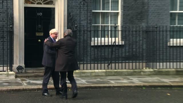 boris johnson welcoming european parliament president david sassoli to 10 downing street - 10 downing street stock videos & royalty-free footage