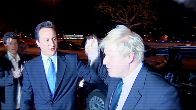 boris johnson wins london mayoral election england london millbank photography * * david cameron mp chatting with supporters while waiting for boris... - mayor stock videos & royalty-free footage