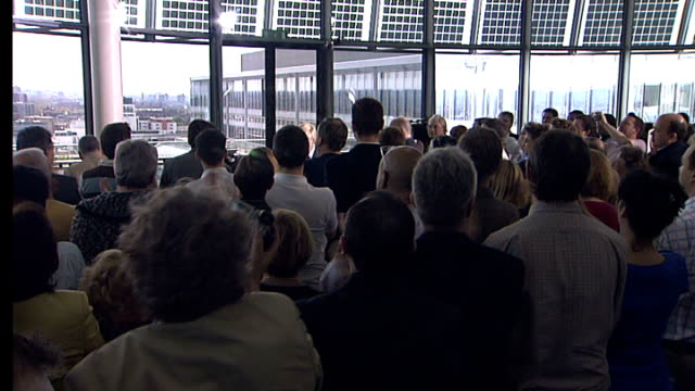 boris johnson wins london mayoral election int johnson saluting ian blair and out through crowd with him - mayor stock videos & royalty-free footage