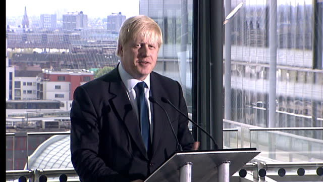 boris johnson wins london mayoral election int johnson speech sot there are shredding machines quietly puffing and panting away in various parts of... - bürgermeister stock-videos und b-roll-filmmaterial