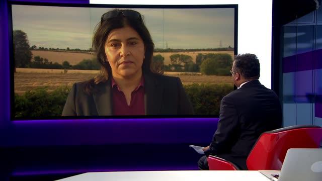 boris johnson's comments on women wearing burqas described as 'islamophobic' england london gir int baroness sayeeda warsi live 2way interview from... - burka stock videos & royalty-free footage