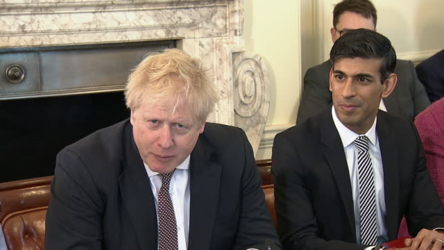 boris johnson's new cabinet holding their first meeting together - ben wallace stock videos & royalty-free footage