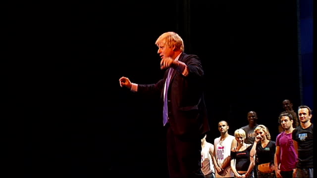 boris johnson's waxwork is one of the 'most kissed' at madame tussauds; t01071015 int boris johnson demonstrating dance moves to audience - madame tussauds stock videos & royalty-free footage