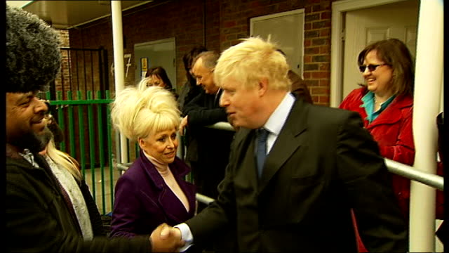 boris johnstone and barbara windsor launch 'the big lunch' england london bethnal green photography *** london mayor boris johnson and actress... - bethnal green stock videos & royalty-free footage