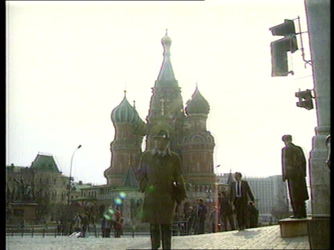 Boris Yelstin RUSSIAN Moscow GV St Basils Cathedral TMS Procommunist demo MS Ditto with police in front CMS Placard with poster of Pres Boris Yeltsin...