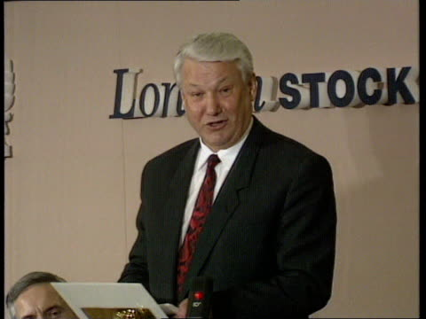 Boris Yeltsin visit to London CMS Yeltsin making speech at visit to Stock Exchange