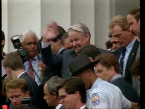 boris yeltsin visit; usa: washington congress cms russian fed pres boris yeltsin down steps of building surrounded by others gv crowd on steps of... - boris yeltsin stock videos & royalty-free footage