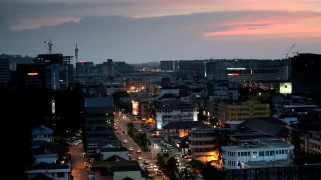 borneo malaysia kota kinabalu asia dusk illuminated  - マレーシア点の映像素材/bロール