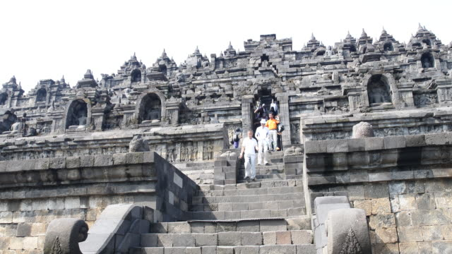 borobudur temple in central java, indonesia - monument stock videos & royalty-free footage