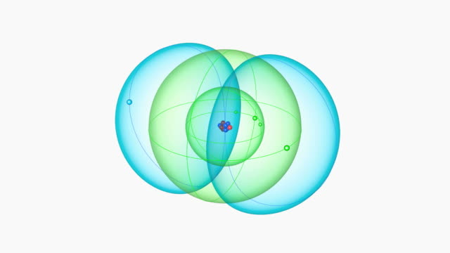 boron atom. diagram of an atom of the element boron, pulling back from the central nucleus to reveal the surrounding electron orbitals. - neutron stock-videos und b-roll-filmmaterial