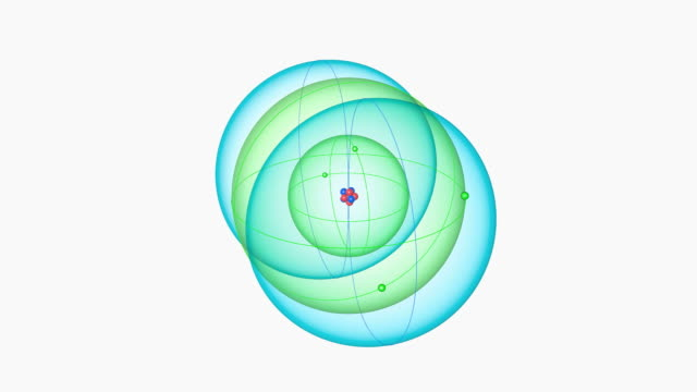 boron atom. diagram of an atom of the element boron, showing the central nucleus surrounded by electron orbitals. - neutron stock-videos und b-roll-filmmaterial